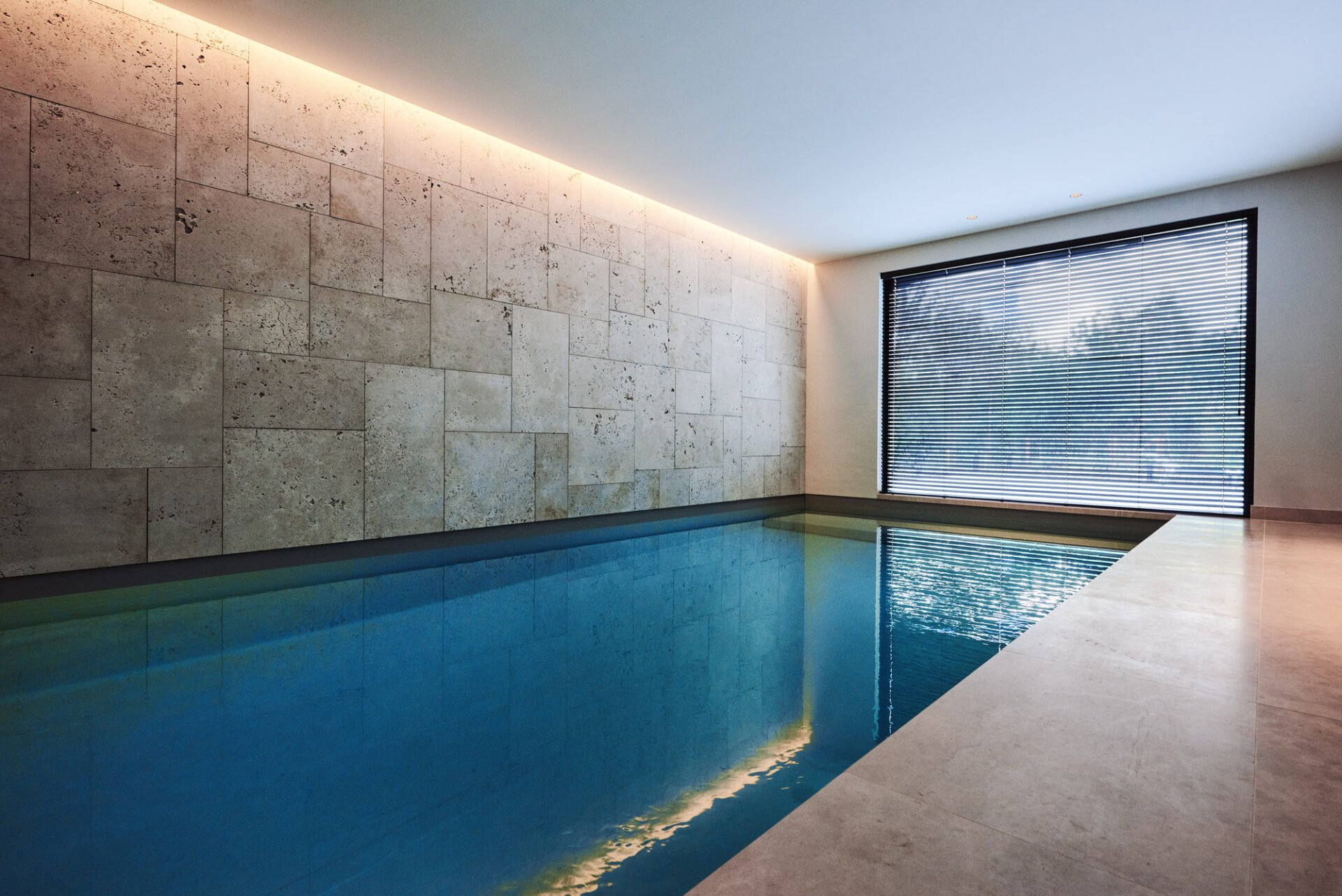 indoor pool with warm light strips
