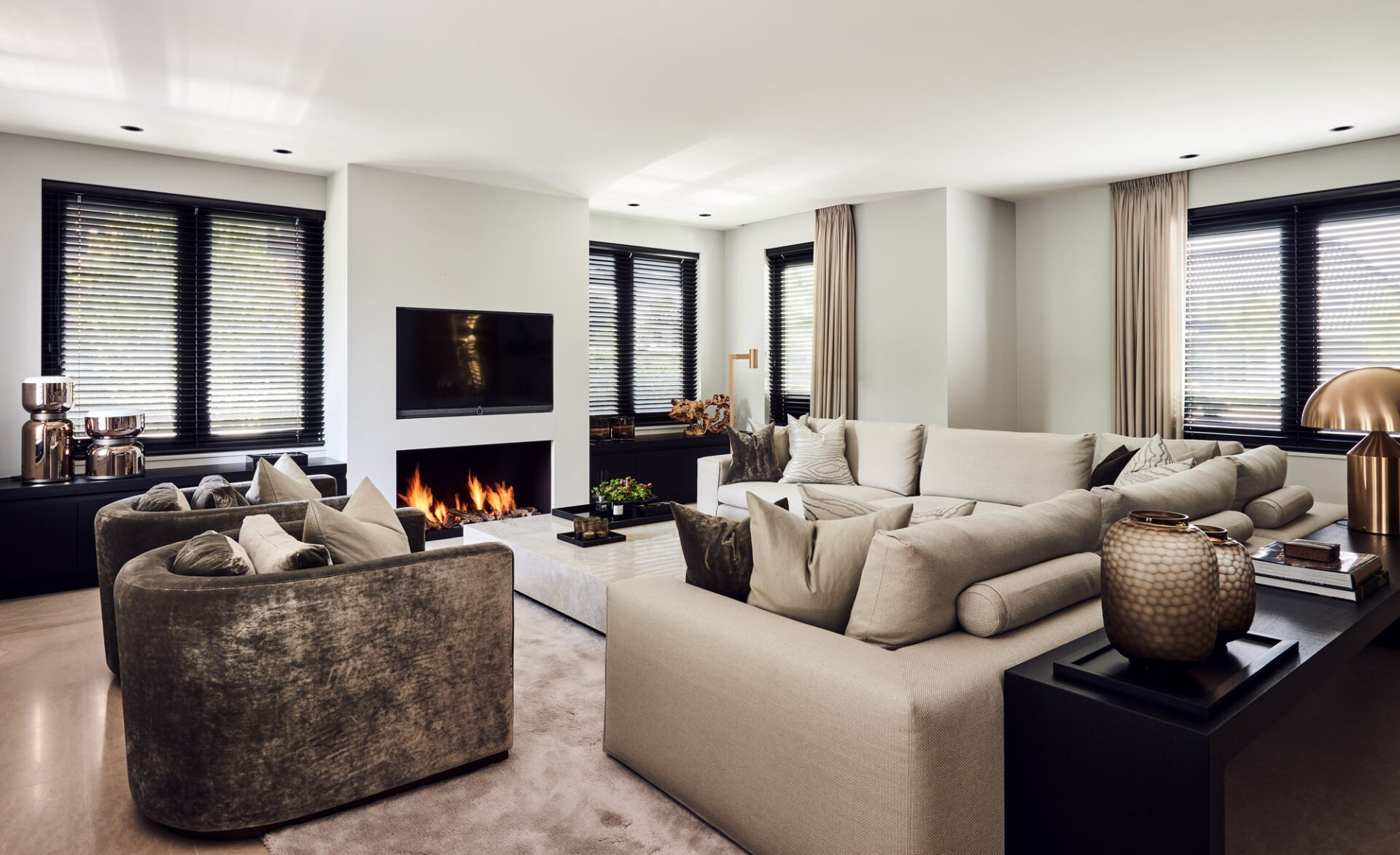 interior design living room beige fire place