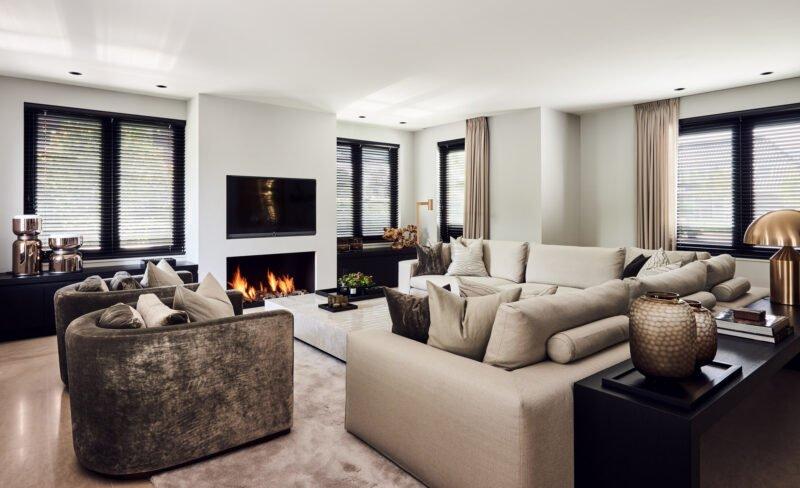 interior design living room beige fire place