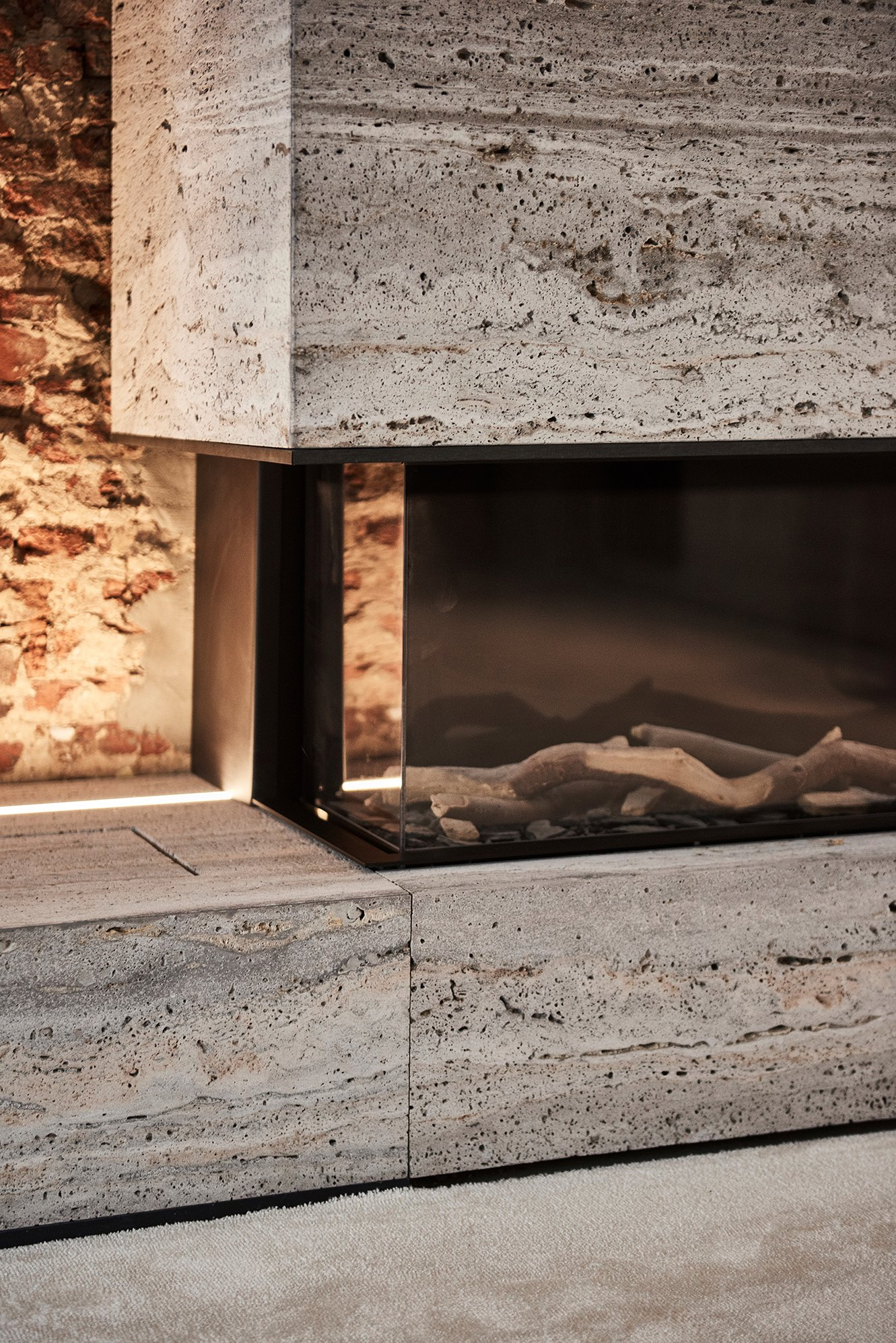 interior design wood fire place