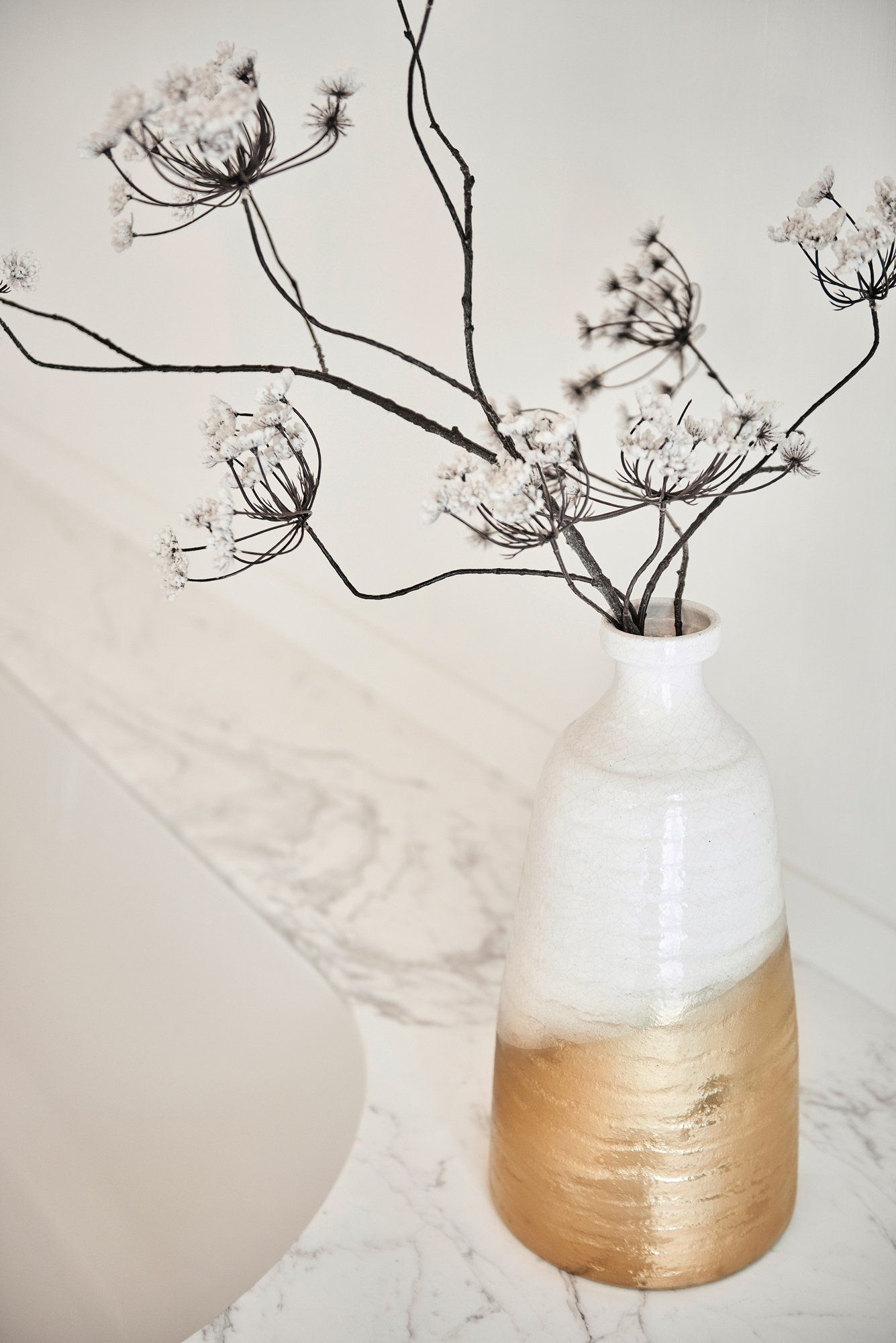 interior design bright bathroom marble white gold vase