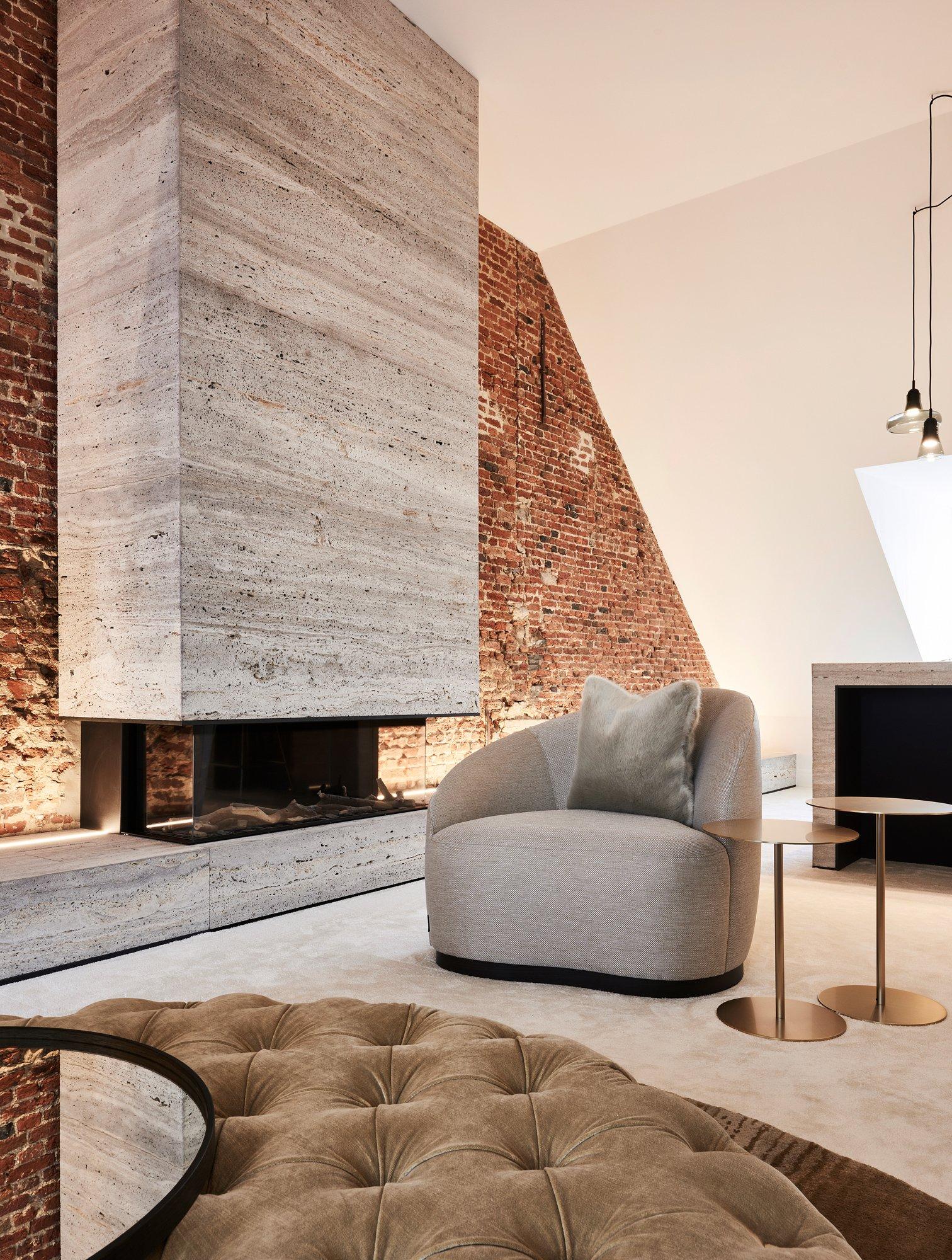interior design old details brick wall beige