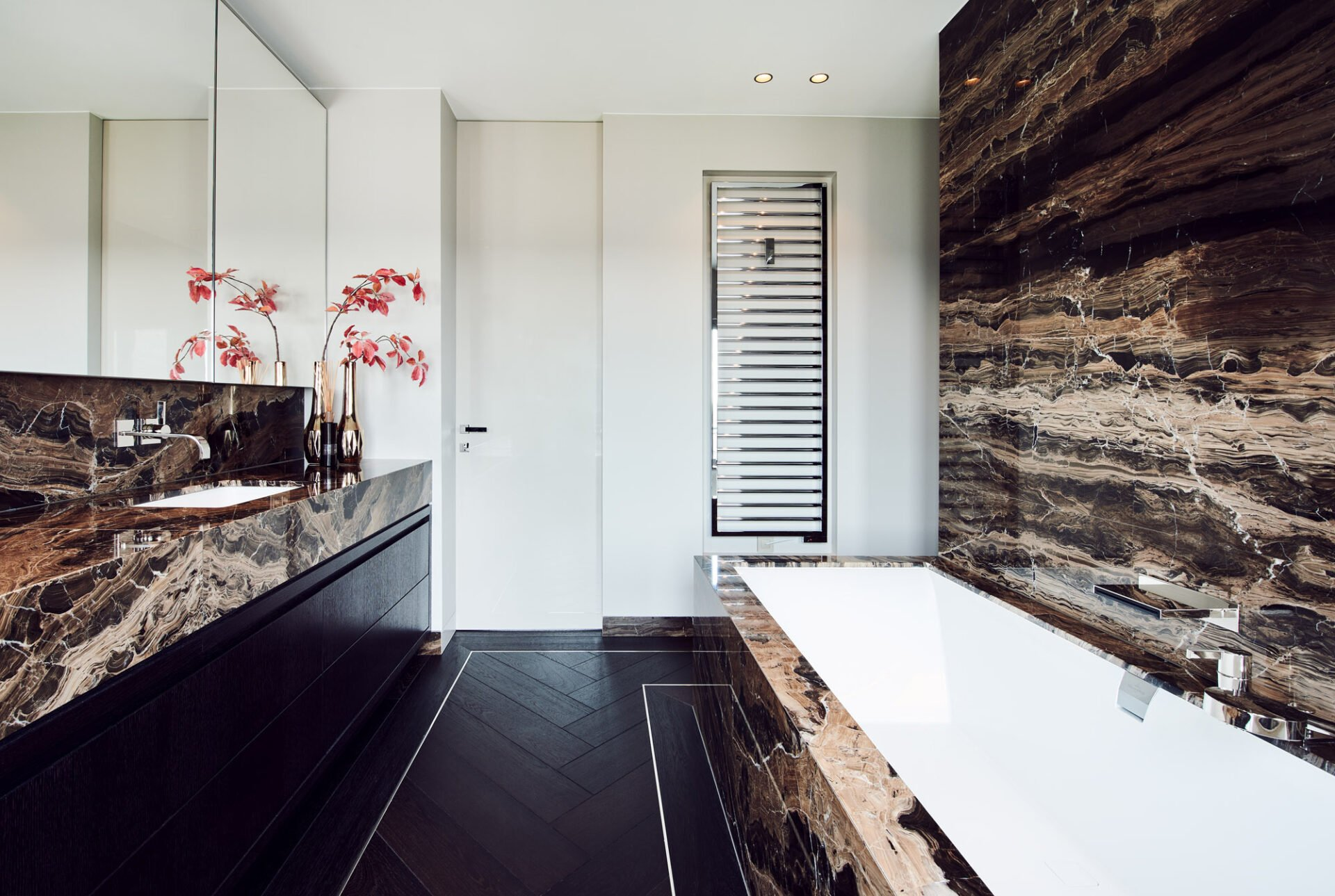 interior design marble sink and bath brown with red flowers