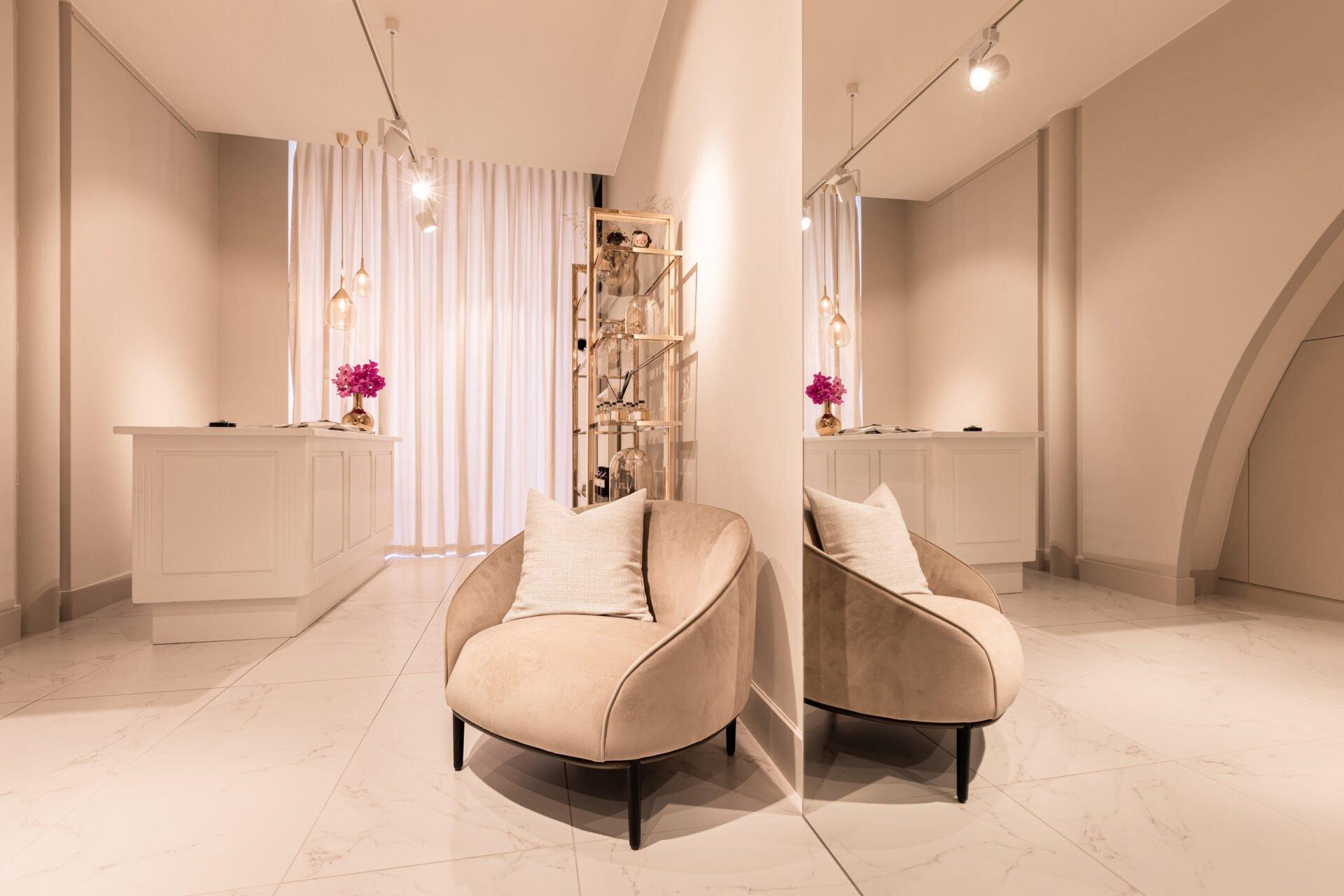 interior design sewing boutique scissors mirror chair
