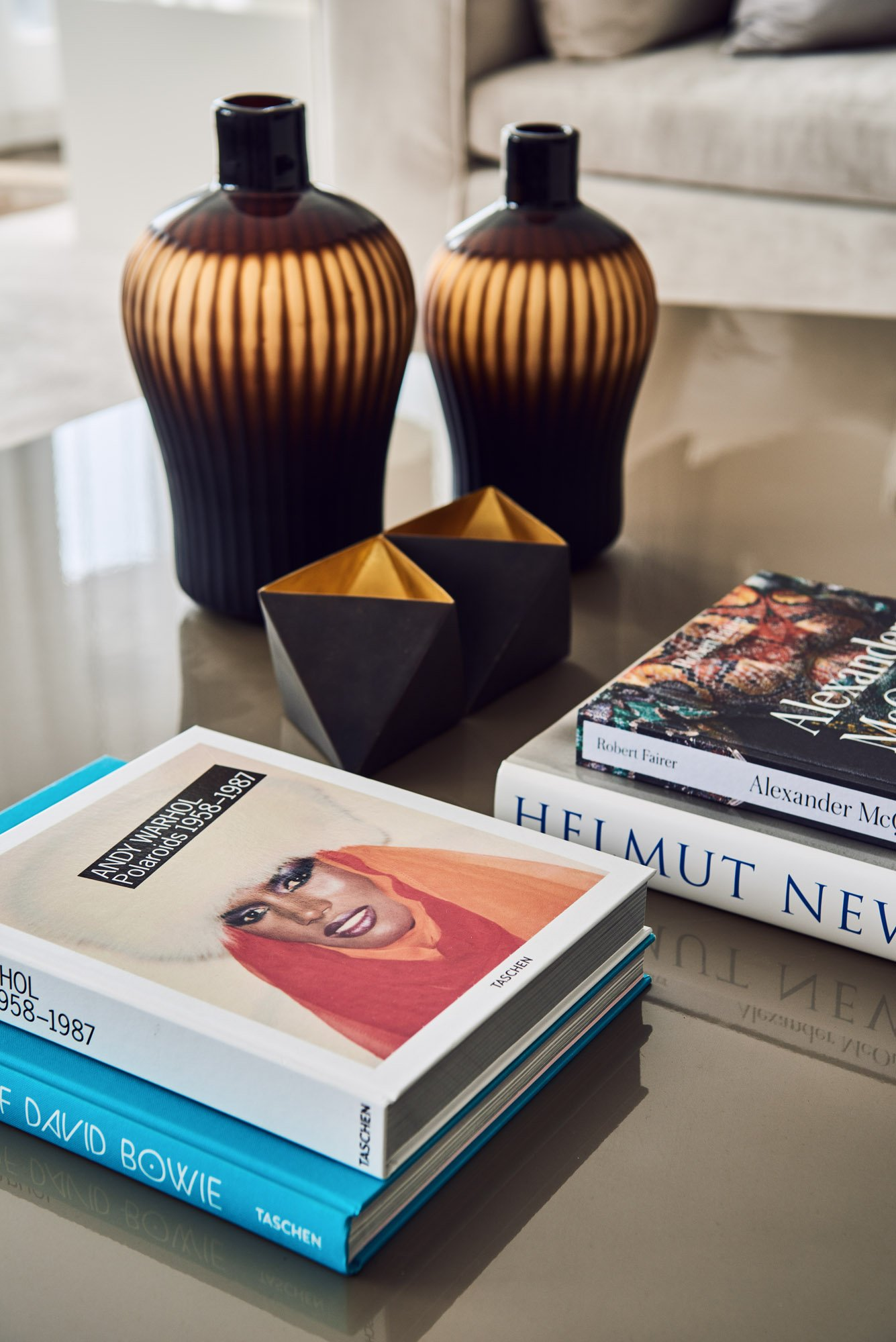 interior design books on table