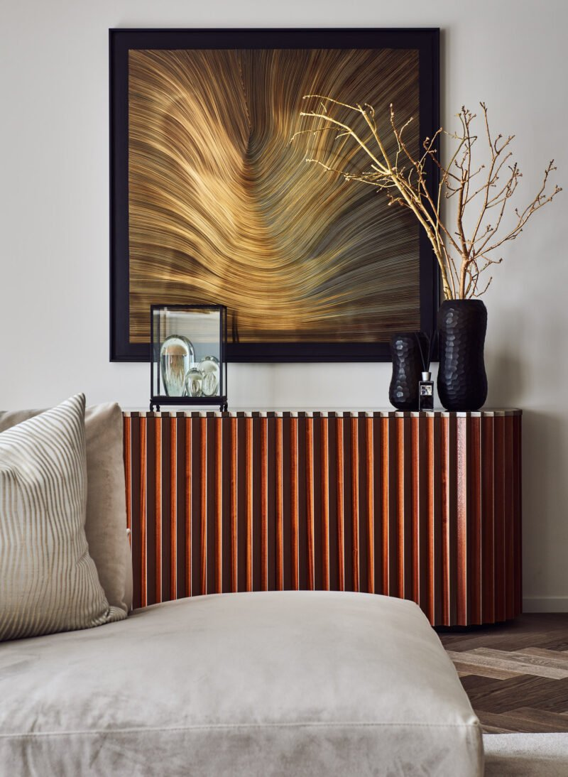 interior design gold wave lines painting