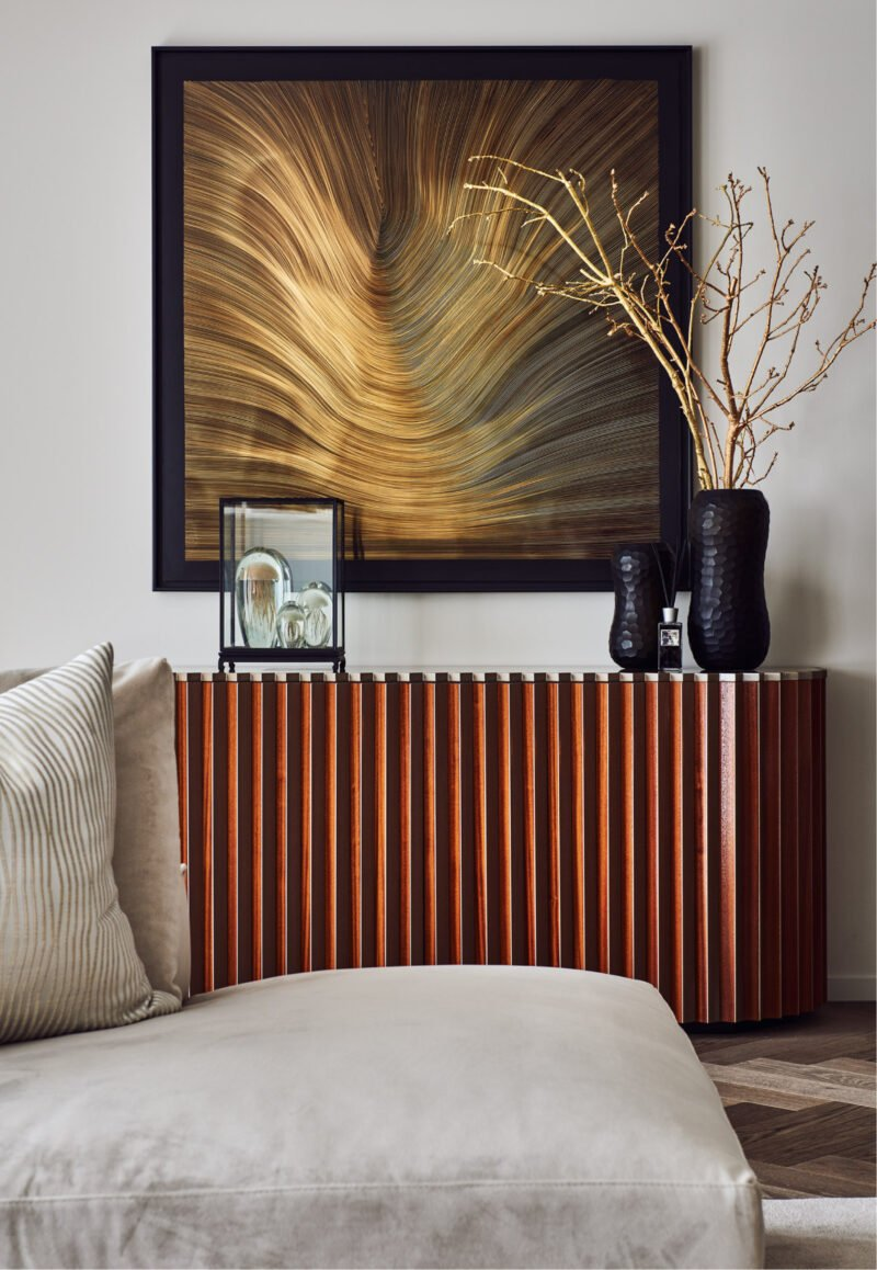 interior design gold wave painting