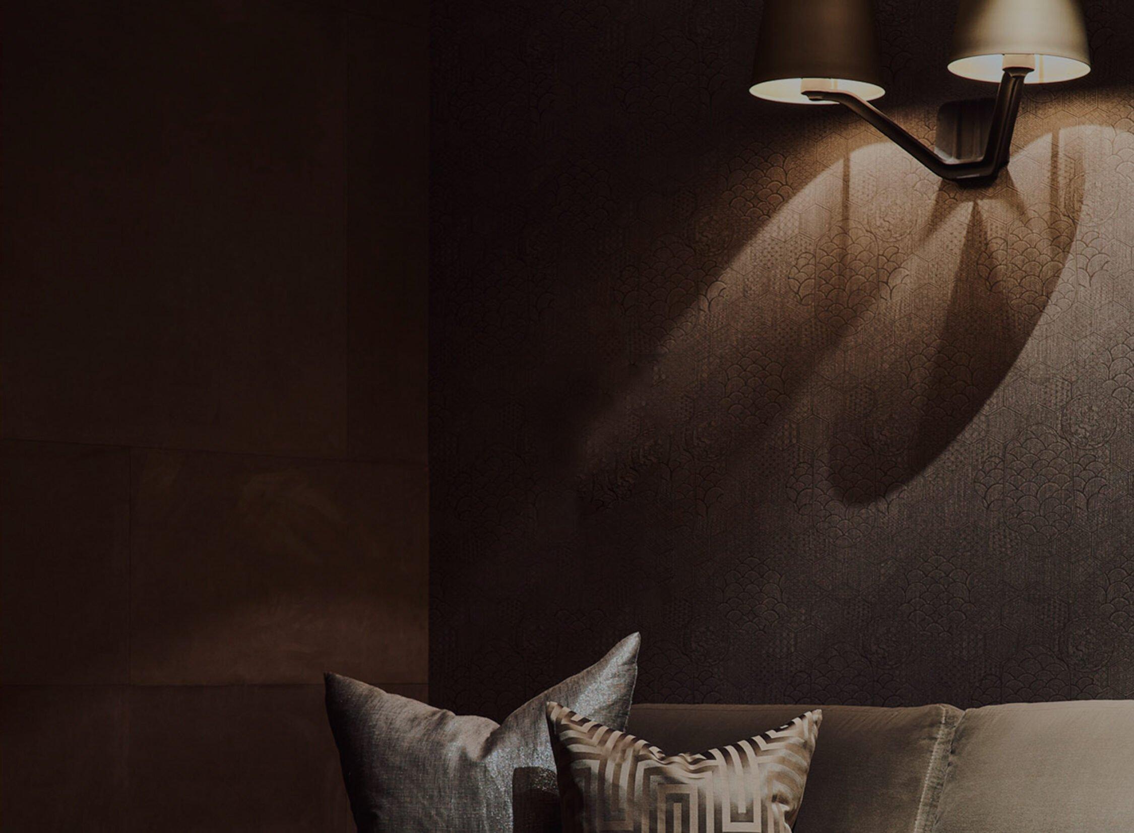 interior design dark detailed wall